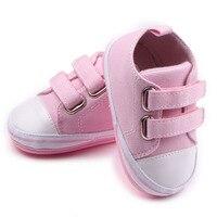 2018 Новинка весны и осень для маленьких девочек обувь для 4 цвета для маленьких мальчиков От 0 до 1 года парусиновая обувь модные розовые Повсе...