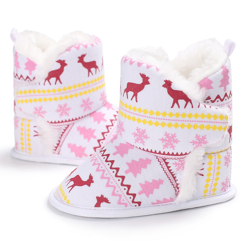 New Fashion Winter Autumn Warm Baby Boys Girls Vintage Xmas Pattern First Walkers Shoes Cotton Toddler Cack Baby Shoes 2017 j2