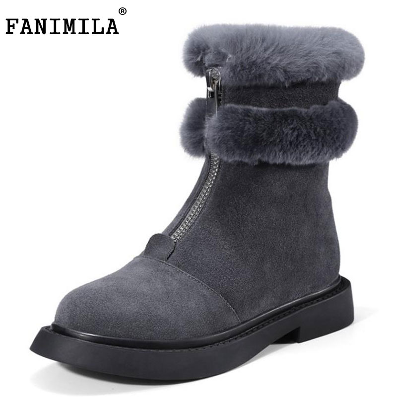 FANIMILA Women Genuine Leather Flats Boots Women Zipper Thick Fur Snow Boots Cold Winter Shoes Warm Women Footwears Size 34-39