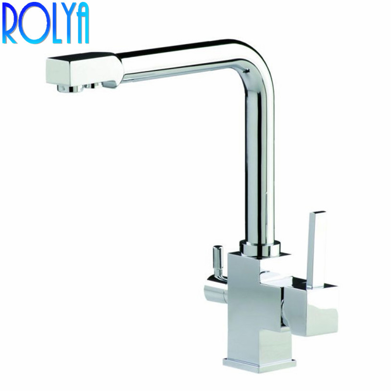 ROLYA 3 Way Clean Water Kitchen Faucet Swivel Osmosis Reverse Tri flow Kitchen Sink Mixer Tap