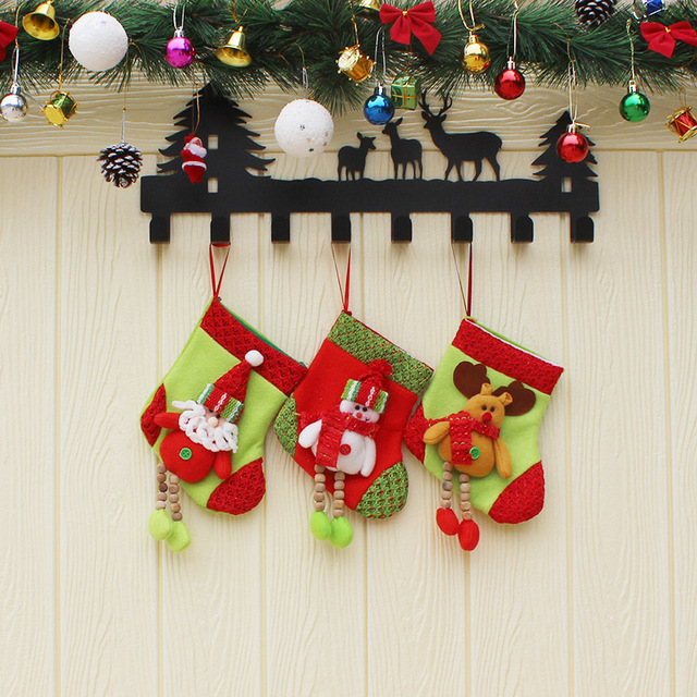 3 pieces per lot christmas decoration small gift bags decorated christmas socks gift bags small christmas - Small Christmas Stocking Decorations