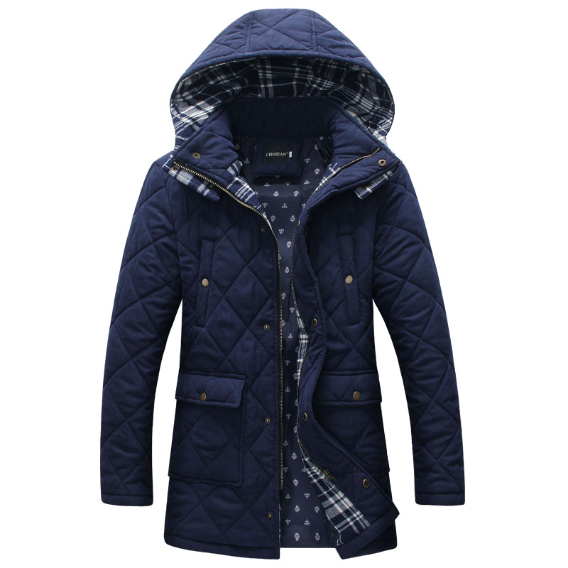 Cotton young men in the long section of Korean men down padded winter coat slim thick cotton padded jacket size winter