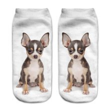 Fashion Funny Chihuahua Dogs 3D Printing Sock Unisex Low Cut Ankle Socks Calcetines Hosiery Animal Shapes Meias Femininas Sock