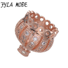 Fyla Mode Crown Zircon Spacer Beads Charms Micro Pave Metal Crystal Spacer Bead For Women Bracelet Earring DIY Original Jewelry