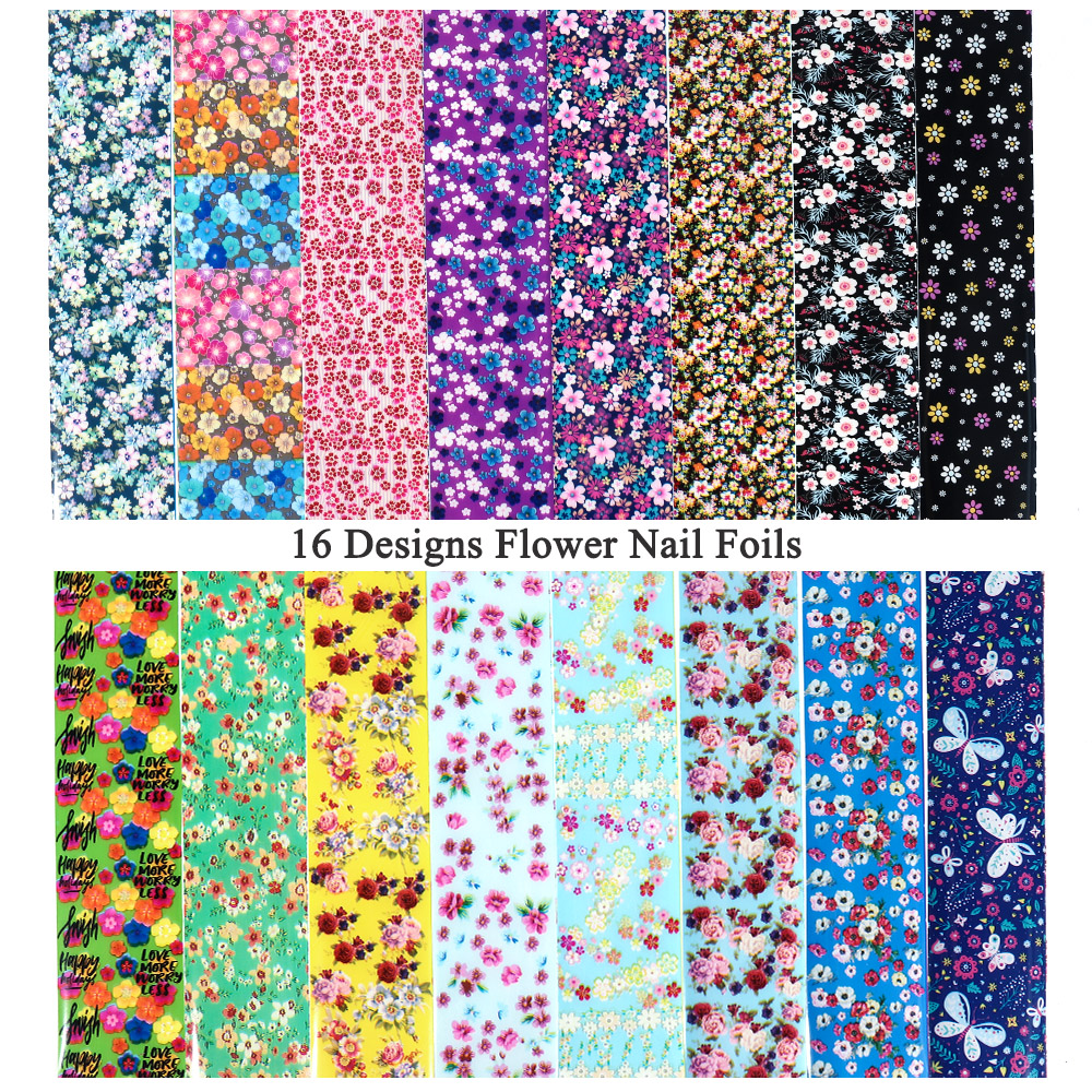 Image 2 - 16pcs Slider Nail Foils Mix Flower Nail Art Sticker Holographic Starry Paper Foil Nail Gel Transfer Full Wrap Decorations JI1024-in Stickers & Decals from Beauty & Health