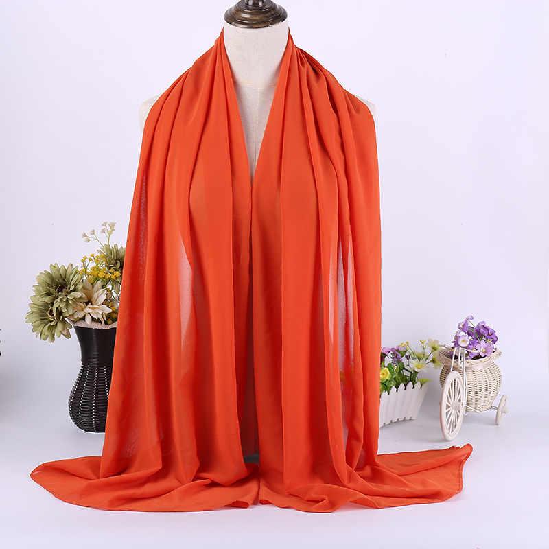 Качественный Длинный Шифоновый головной платок Sarves Hijabs для женщин, однотонный головной платок для исламских женщин, мусульманский головной платок, обертывание phasmina 175*70 см