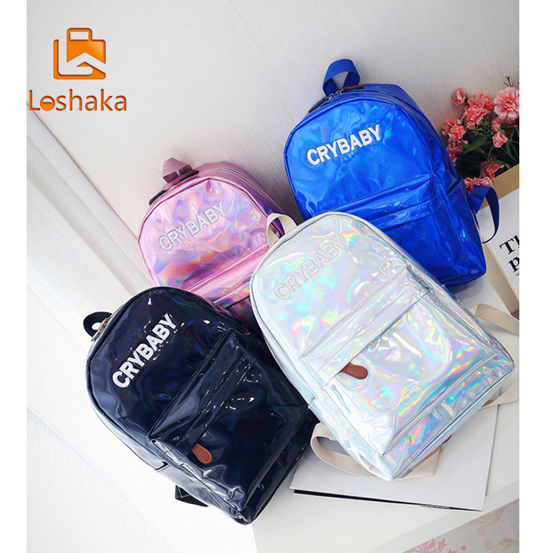 Loshaka Hip-hop Style Embroidery Letters Crybaby Hologram Laser Backpack Women Soft Pu Leather Backpack School Bags For Girls #3