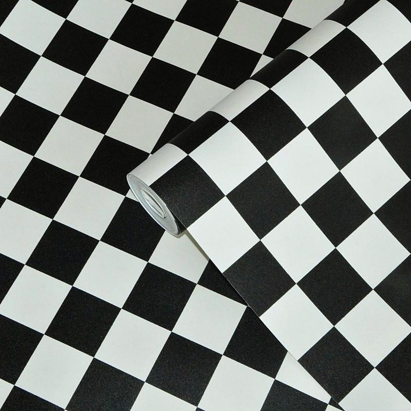 Black White Kitchen Wallpaper: PVC Waterproof Black White Lattice Kitchen Wallpaper Wall