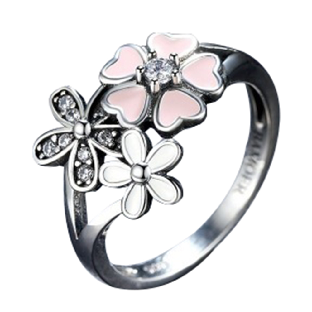 Pink Flower Poetic Daisy Cherry Blossom Finger Ring for Women Engagement Fashion Jewelry
