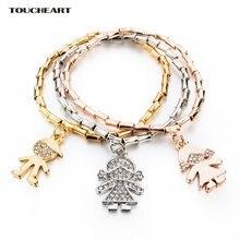 Женский браслет с кристаллами и камнями золотого цвета