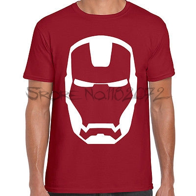 Iron man mask printed mens t shirt marvel comic book for Books printed on t shirts