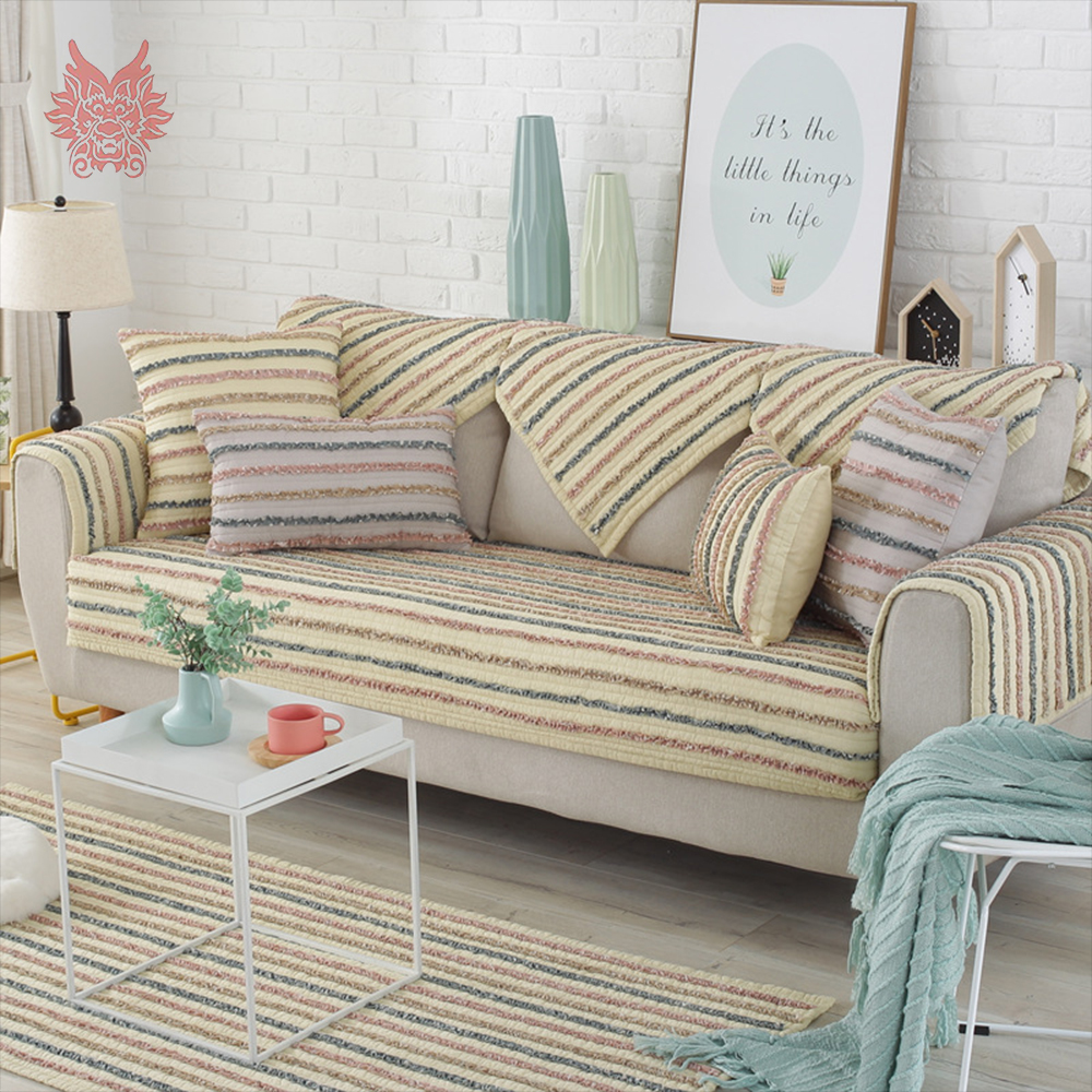 Japan Style Ruffles Stripe Quilted Sofa Cover Cotton