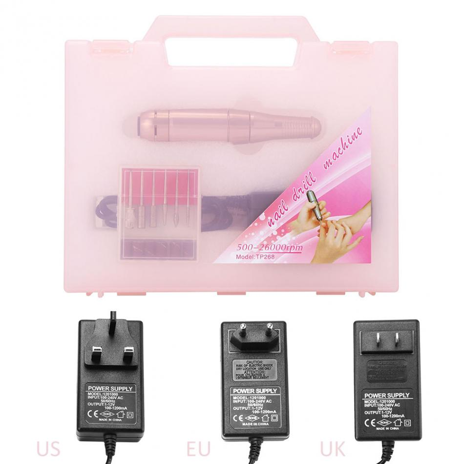 Electric Nail Art Manicure Drill Pen Set Nail Polishing Grinding Machine with 1 Set Nail Drill Bits Nail Sanding Pedicure Tools professional electric nail drill machine manicure machine 20000rpm nail art file ceramic nail drill bits sanding nail tools set