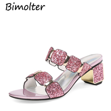 Bimolter Fashion Glitter Sequined Women Summer Party Shoes Slides Bling Pink High Heels Pumps Lady Slippers Plus Size 43 NB145