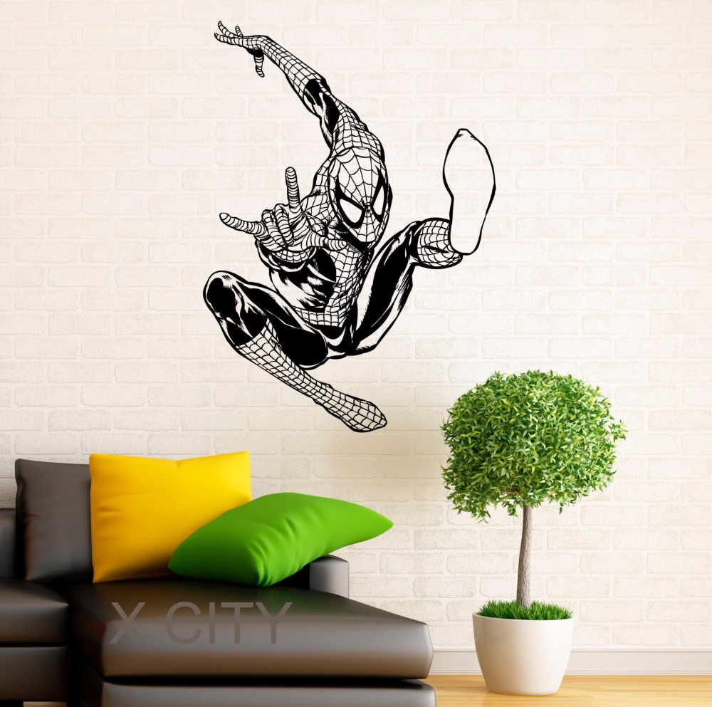 Spiderman poster super hero vinyl wall cool sticker art for Cheap wall mural posters