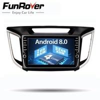 Funrover android 8,0 2 din автомобильный dvd gps плеер для hyundai IX25 Creta автомобильный gps навигация raido мультимедийный плеер магнитофон г