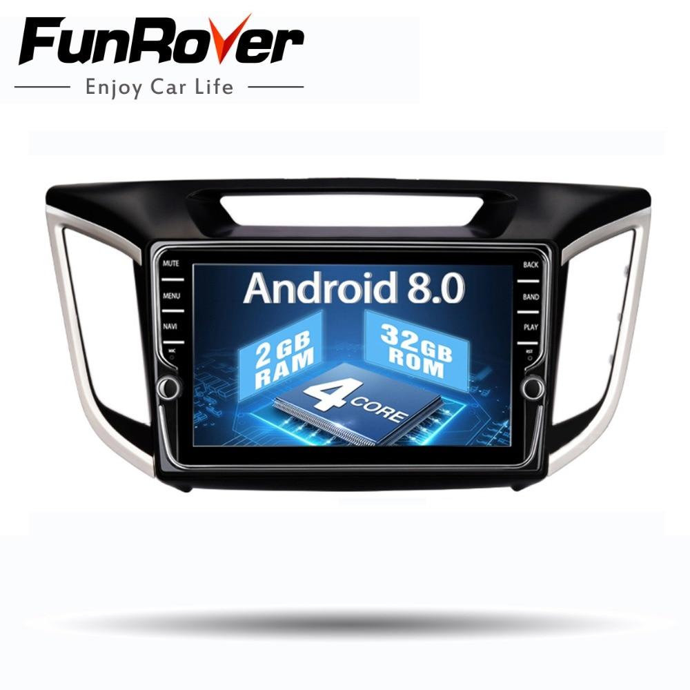 Funrover android 8.0 2 din voiture dvd gps lecteur Pour Hyundai IX25 Creta Voiture gps navigation raido Multimédia Lecteur bande enregistreur 2g