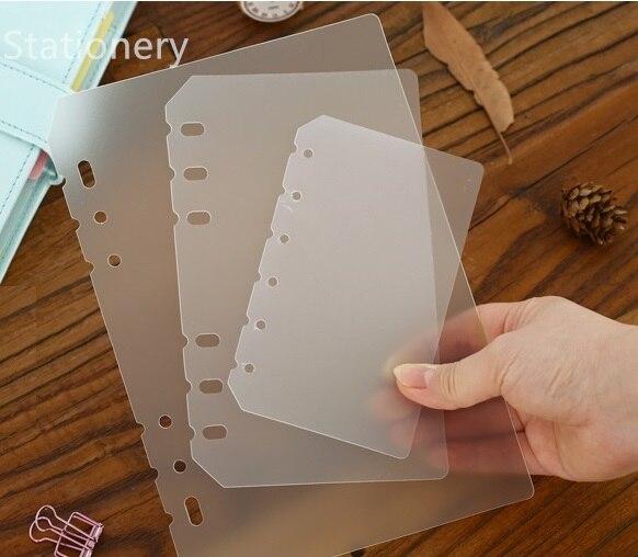 A5 a6 a7 pp fosco placa para proteger o papel interno espaçador planejador filofax organizador divisor separador placa página
