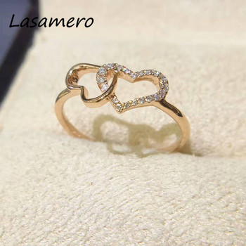 efb2aa3216ed Lasamero anillo para mujeres 0.08CTW anillo doble corazón forma anillo de  diamante natural 18 K oro real anillo de compromiso de diamantes