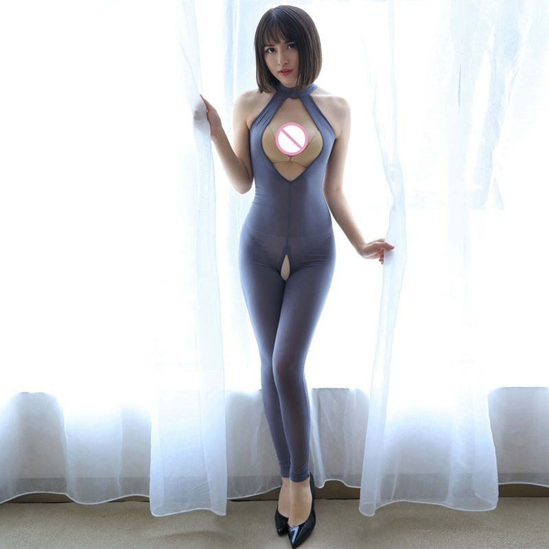 Women Choker Necklace Collar Open Cup Bodysuit Transparent Catsuit Nightclub Costumes Sexy Open Bra Crotchless Full Bodysuits