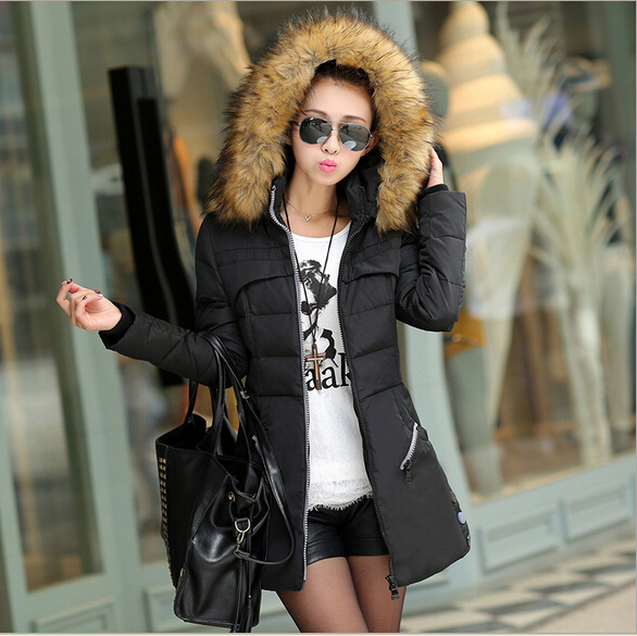 7c6040e95d7 Women sexy luxury Quilted duck Down Jacket Puffy Coat with big hooded faux  fur collar plus size 3XL winter snow zero below Parka