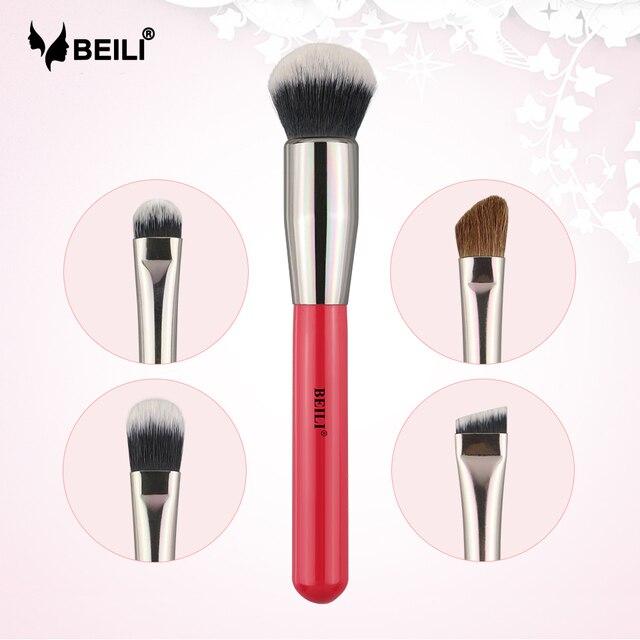 BEILI 1 pieza pinceles de maquillaje rojo profesional base de cejas corrector de sombra de ojos caja de embalaje