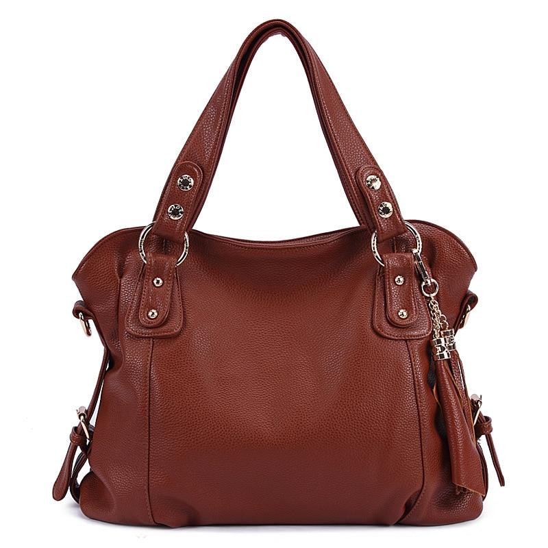 ФОТО Women Leather Handbags Female Designer Shoulder Bag Classic Tassel Ladies Big Handbag High Quality 2016 New Bolsos Feminina