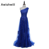 Элегантное торжественное платье Королевский синий одно плечо Кружево Тюль Вечерние платья для Для женщин на заказ; Большие размеры Vestido De