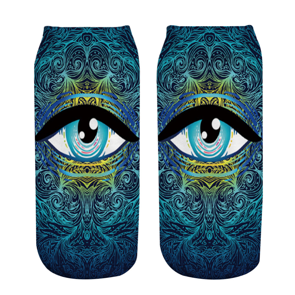 Underwear & Sleepwears 1 Pair Soft Socks Blue Eye Cotton Socks Creative Colorful Striped Dot Pattern Jacquard Art Casual Socks For Men 19cm Easy To Use