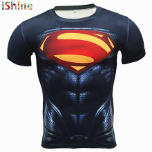 2Compression T Shirt for Men Anime Superhero Skull Superman