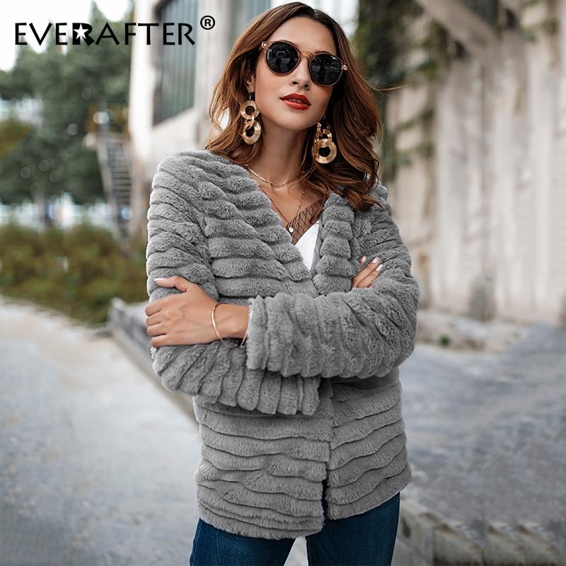 EVERAFTER Women Sweater Cardigan Jumper Grey Autumn Winter Outwear Fluffy-Coat Long-Sleeve
