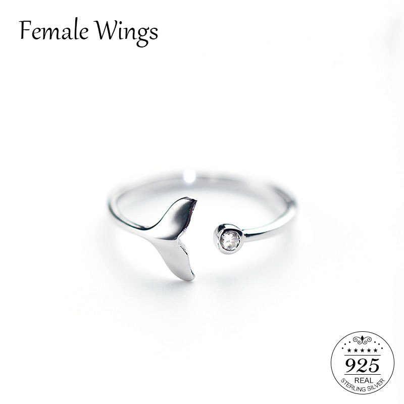 หญิงปีกแฟชั่น 925 เงินสเตอร์ลิงเครื่องประดับ Mermaid Tail Cuff แหวน Anel ปลา Bague แหวนโรแมนติก Sieraden ของขวัญ FR070