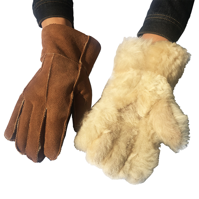 Men Gloves Sheepskin Winter Warm Gloves Camel Fashion Leather Wool Fur Men's Gloves Warming Male 100% Real Leather Gloves NM6