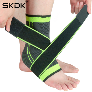 SKDK 1PC 3D Pressurized Ankle Support Wrist Support Sports Gym Badminton Ankle Brace Protector with Strap Belt Elastic
