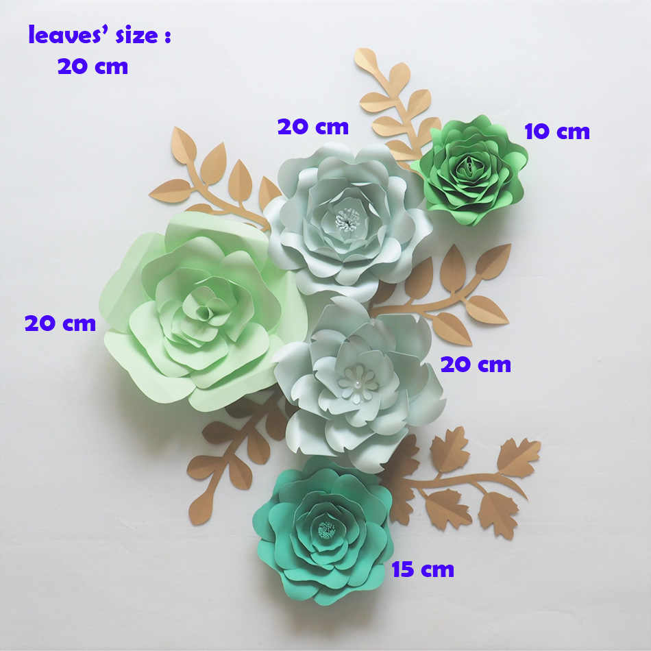 Diy Giant Paper Flowers Backdrop Artificial Handmade Green Paper Flower 5pcs 5 Leaves Wedding Party Deco Home Decoration