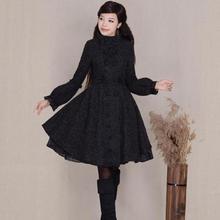 Новинка, осенне-зимнее женское двубортное шерстяное пальто в стиле ретро с рукавами-фонариками, женская тонкая шерстяная куртка, верхняя одежда