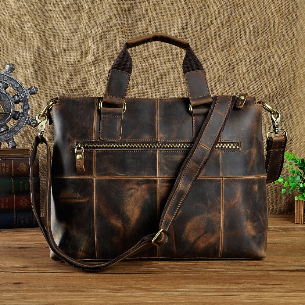"Men Original Leather Design Antique Retro Travel Business Briefcase 15"" Laptop Case Portfolio Bag Shoulder Messenger Bag B260 d-in Briefcases from Luggage & Bags    2"