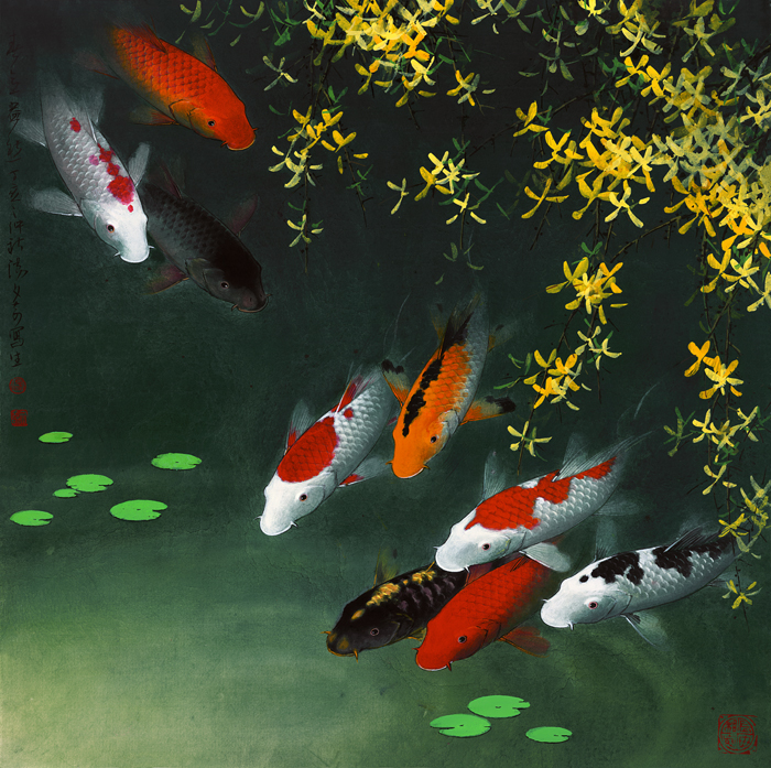 Online buy wholesale koi fish oil painting from china koi for Koi artwork on canvas