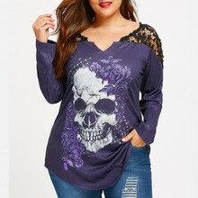 391028db25a9a Plus Size 5XL Lace Crochet Skull Print Asymmetrical Top 2018 Graphic Tees  Women Sexy T Shirts