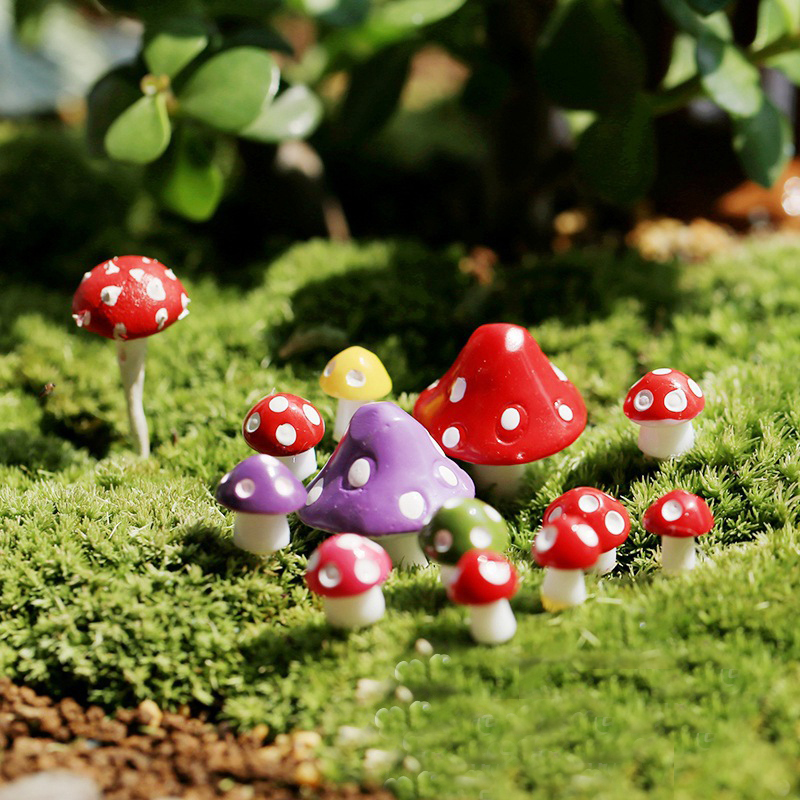 10PCS Fairy Garden Miniatures Mini Mushroom Garden Decoration Resin Mushroom Craft Miniature Fairy Figurines Manualidades