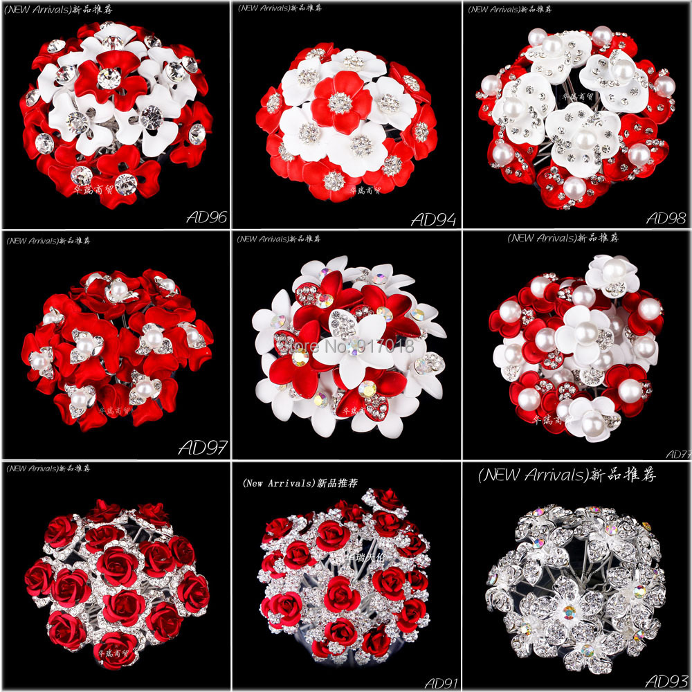 Wholesale New 20pcs Lot Rose Flower Crystal Rhinestone Pearl Women Wedding Bridal Accessories Hair Pins Clips Grips Hair Jewelry