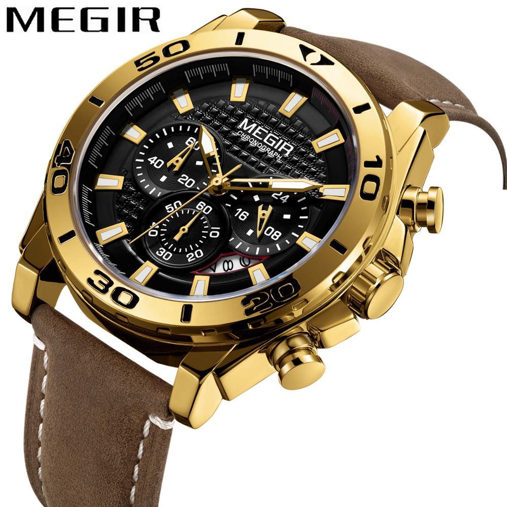 MEGIR Fashion Watch Men Leather Strap 3 Sub-dail Chronograph Sport Quartz Clock Top Brand Luxury Golden Male Wristwatch relogio
