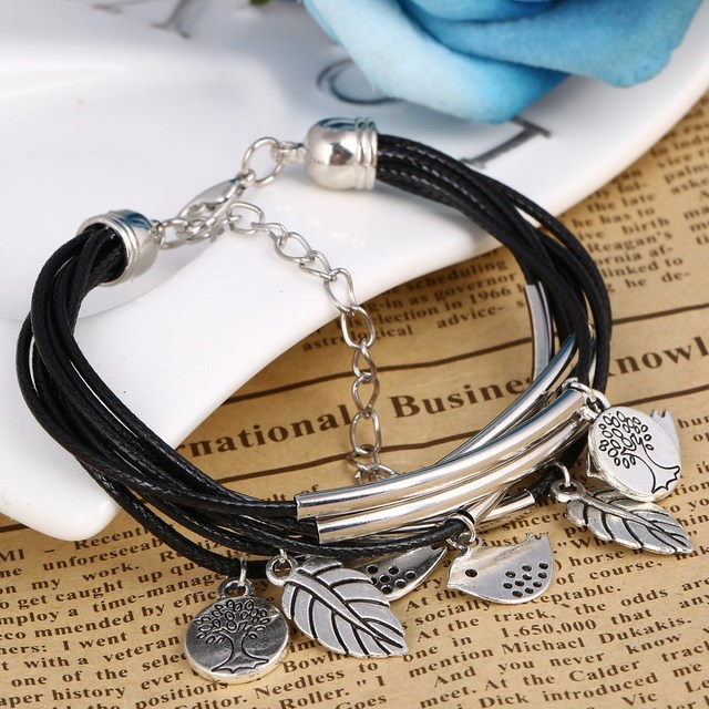 ZOSHI Fashion Multilayers Link Chain Bracelet Women Handmade Charms Birds Life Tree Pendant Wrist Leather Bracelet Bangles