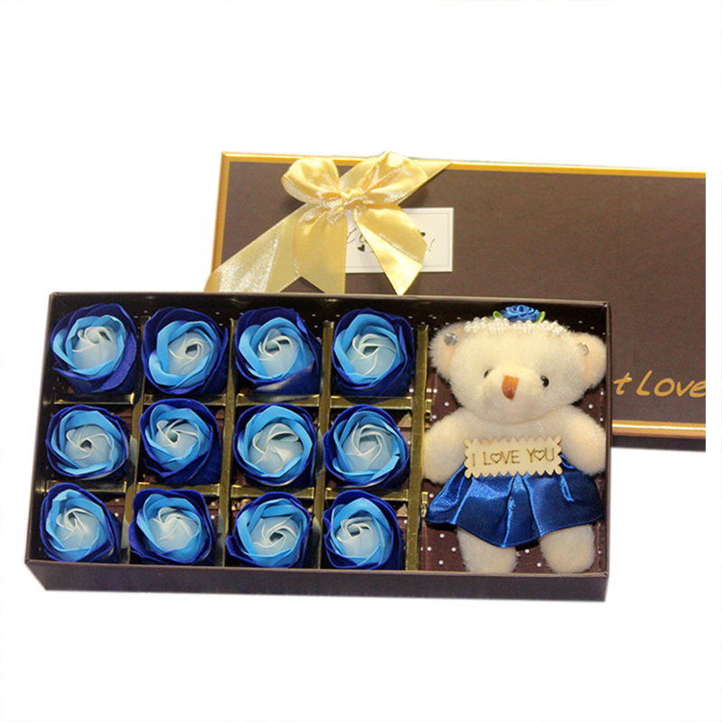 blue Perfect Valentines Day Gift With A Bear For Mother 1 Box Rose Flower Soap Gift Box For Bath Elegant In Style Wife Or Girlfriend