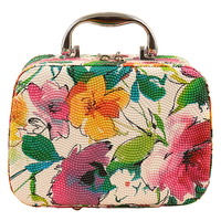 Coofit Fashion Flower Printed Women Cosmetic Box Designer Quality Portable PU Makeup Bag Large Capacity Girl