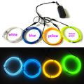 1Meter x 4PCS 3.2mm Multicolor ELectroluminescent Flexible Neon EL wire tube LED Strip For DIY glowing clothes/hat/props Party