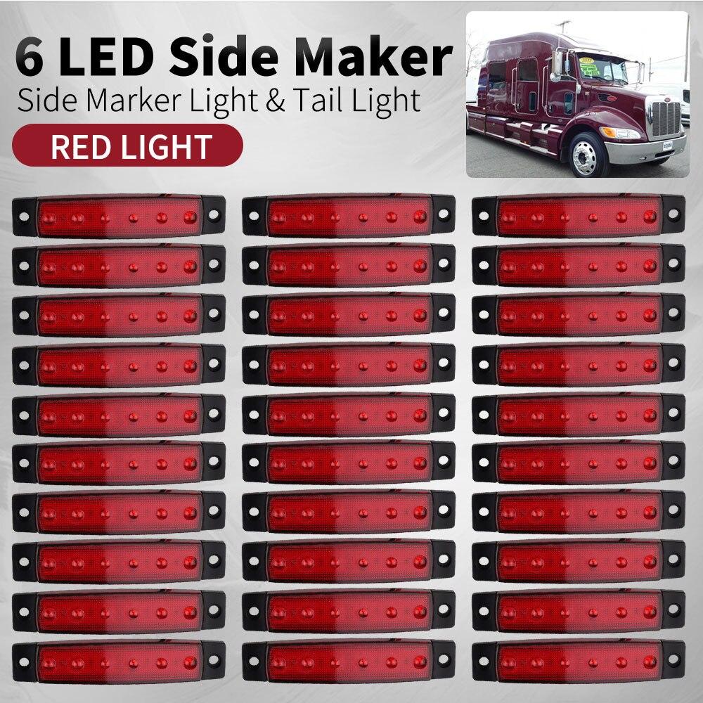 Lumière extérieure de voiture 12 V/24 V LED 6 SMD LED lumière latérale de camion d'autobus de voiture lumière basse lumière LED de remorque