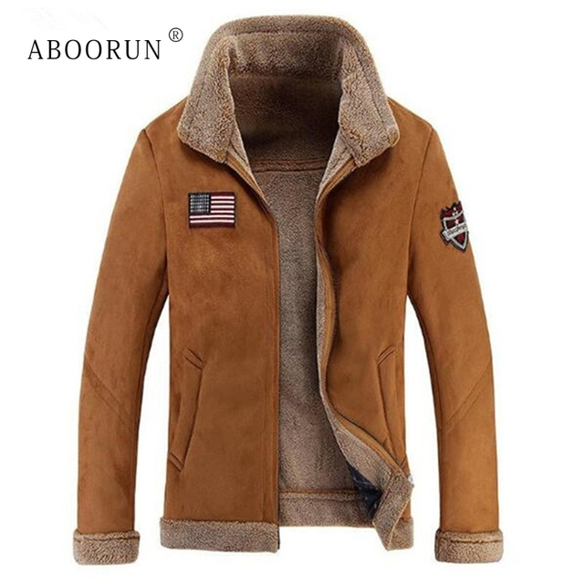 7edf2db58e990 ABOORUN US Flag Bomber Jacket Men's Fashion Suede Leather Jackets Winter  Fleece Coat Fleece Parkas for Male P6068