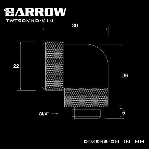 Купить с кэшбэком BARROW G1/4'' 90 Degree OD12mm/14mm Hard tube fitting hand compression fitting rotary use for outside 12mm/14mm Hard Tube