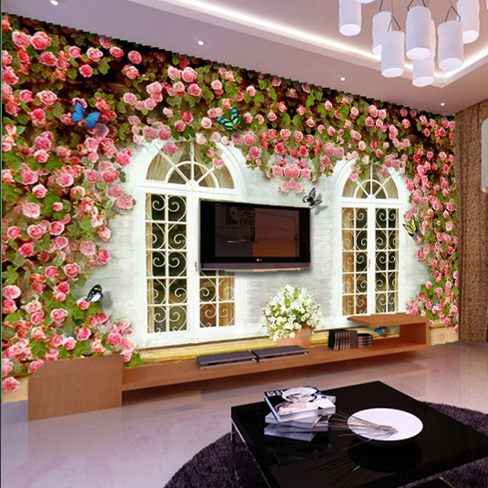 Free Shipping Beauty salon Health Museum wallpaper 3D bedroom sofa TV background wall art fresh garden rose mural